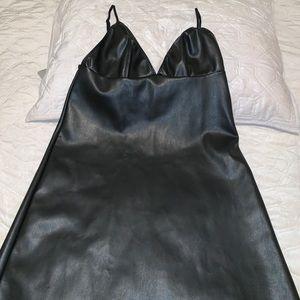 VS faux leather slip dress